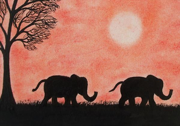 Elephants Silhouette (Framed) by Claudine Peronne
