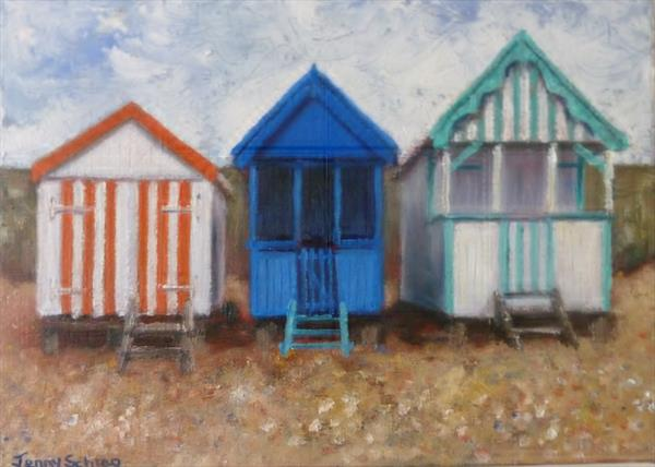 Beach huts at Southend on Sea by Jenny Schrag