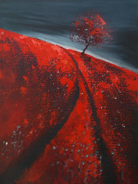 The Vermillion and the storm - Fields and Colors Series  by Danijela  Dan