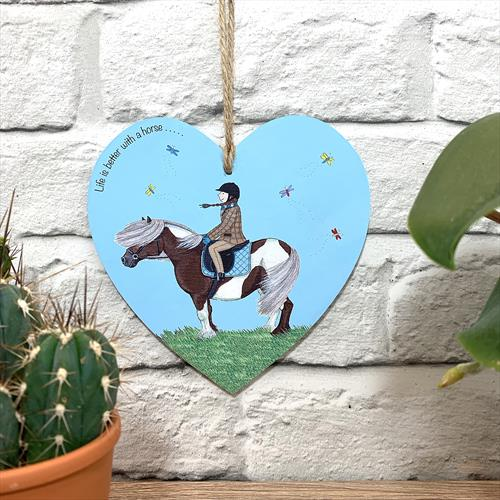 'Life is better with a horse' glossy vinyl print illustrated plaque by Lisa-Marie Davies