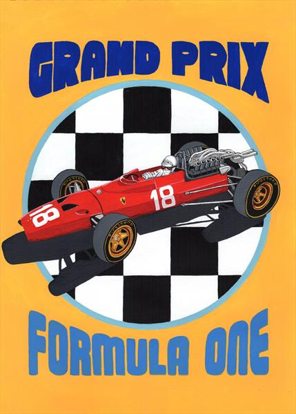 Retro F1 GP Poster by PAUL COCKRAM