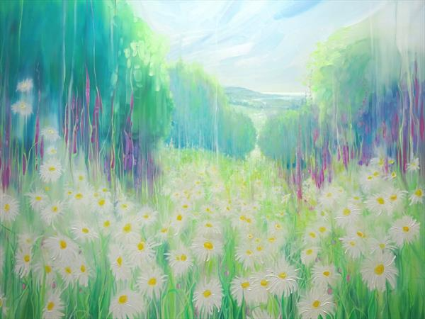 Through the Daisies to the Sea - An English summer landscape by Gill Bustamante