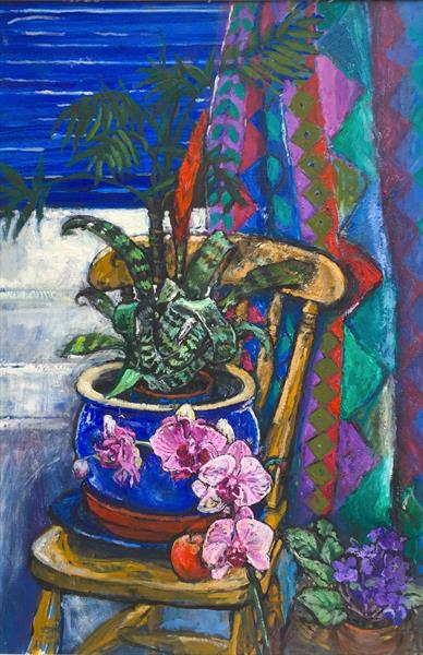 Orchid, African violets and Harlequin curtains still life by Patricia Clements