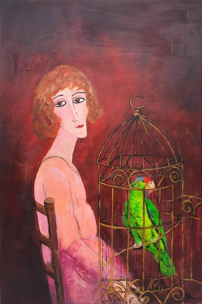 Woman green macaw gilded cage by Teresa Tanner