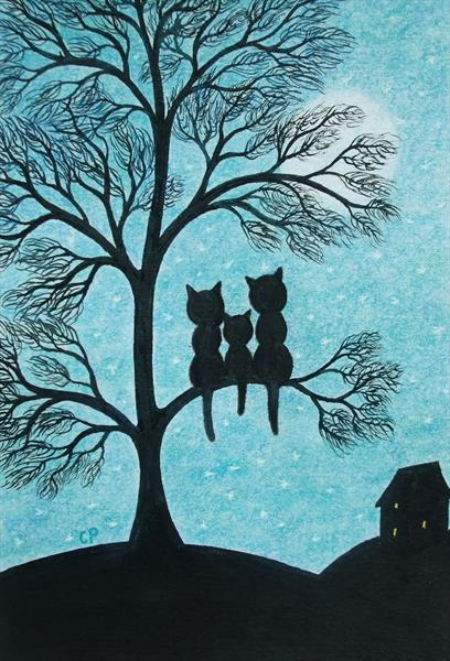 Cats Family in Tree (Framed) by Claudine Peronne