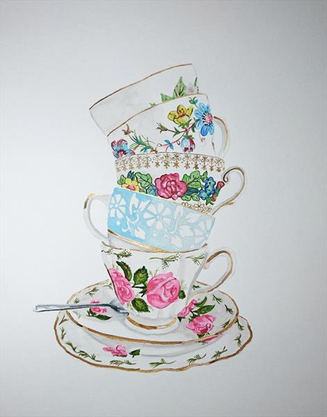 Vintage afternoon tea watercolour painting by Matt Dale