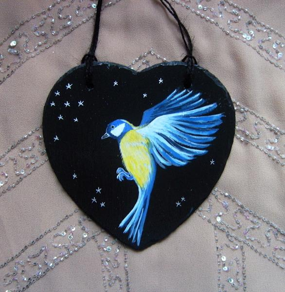 Bluetit slate painting by Angie Livingstone