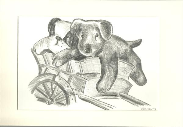 Toy Dogs on a cart by Tanya Carter