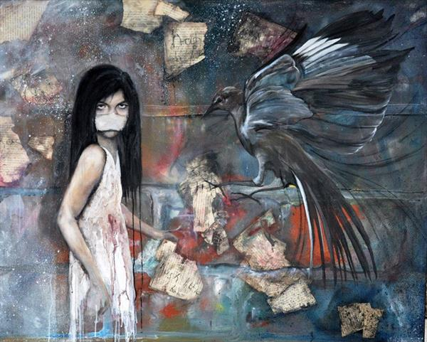 Large (over 4ft long) Original Painting 'Hush Little Baby' by Tina Warren