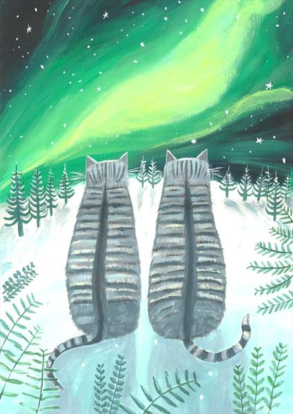 Tabbies with Northern Lights by Mary Stubberfield