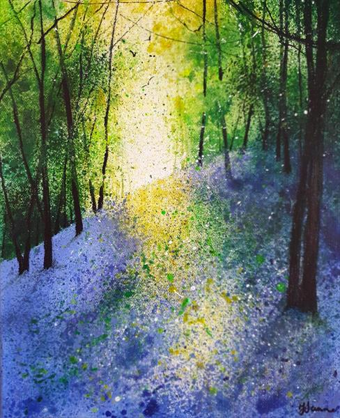 Impression of Light on Bluebell Bank by Teresa Tanner