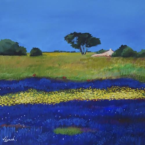 Wildflower Field In Blue And Yellow by Joseph Lynch