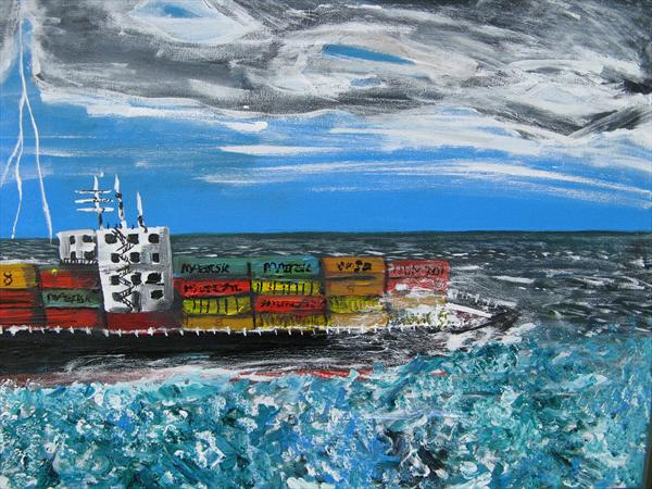 Passing Container Ship by Richard C Taylor