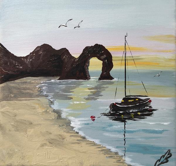 Durdle door on a square canvas by Marja Brown