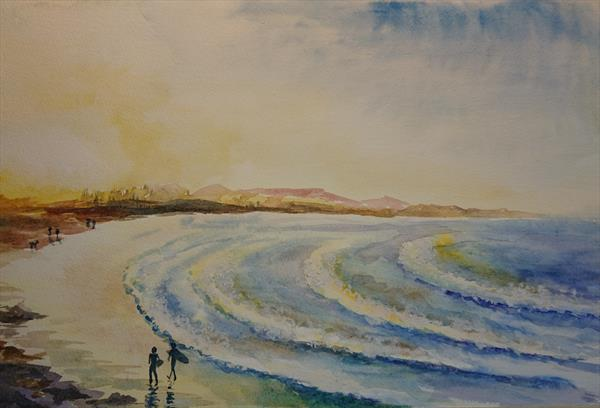 Sunset on the surfing beach waves Winsor & Newton Professional  Artist watercolour paper A3 by Elena Haines