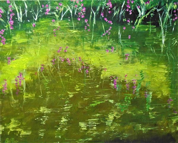 Willowherb reflections in Hythe canal by Rod Bere