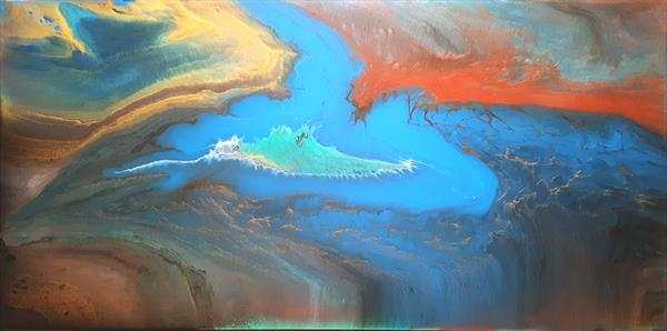 Creation of the Land - large abstract painting by Ivana Olbricht