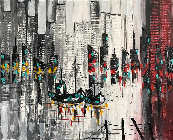 Night City Abstract Painting by  Rizna  Munsif