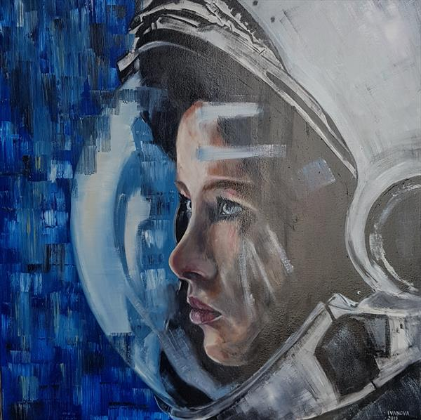 Wanting to be somewhere else. Astronaut portrait. by Lena Ivanova