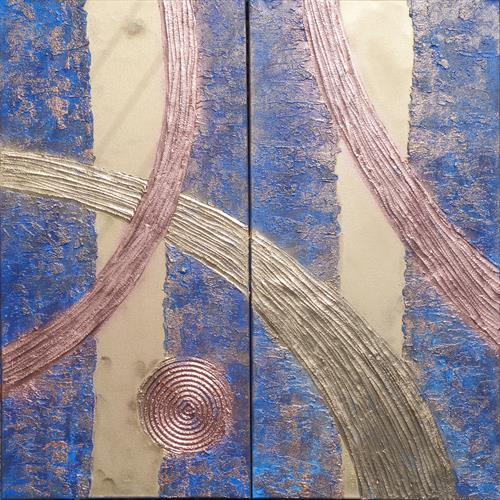 blue long textured painting abstract gold stripe A246 by Ksavera Art
