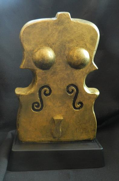 Serenade - handmade, carved abstract woman violin casting stone sculpture under patina by Liza Wheeler