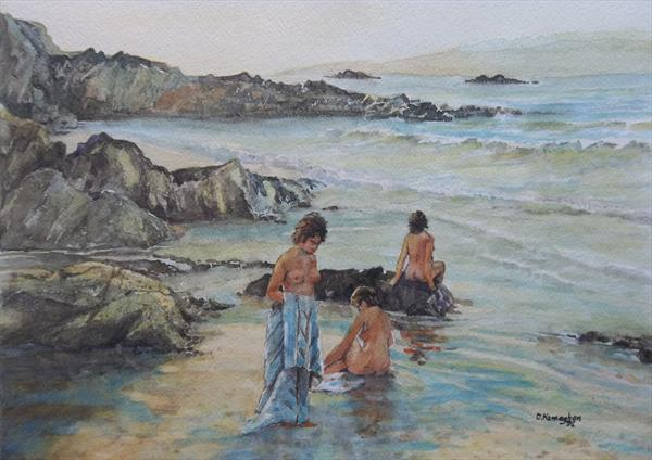 Three Women On a Beach Beside the Sea by David Hannaghan