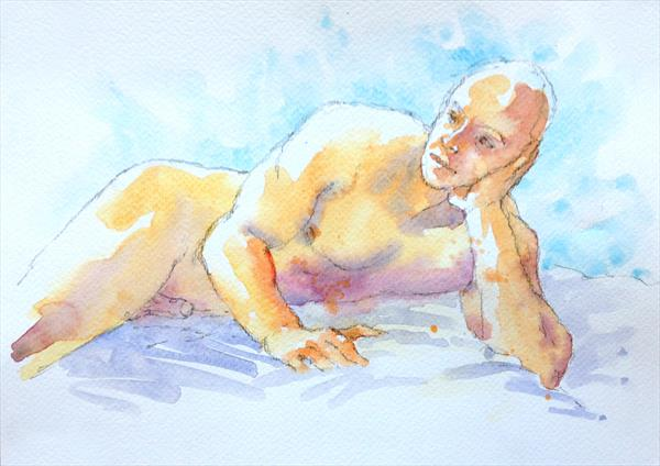 Resting male nude by Peter Kavanagh