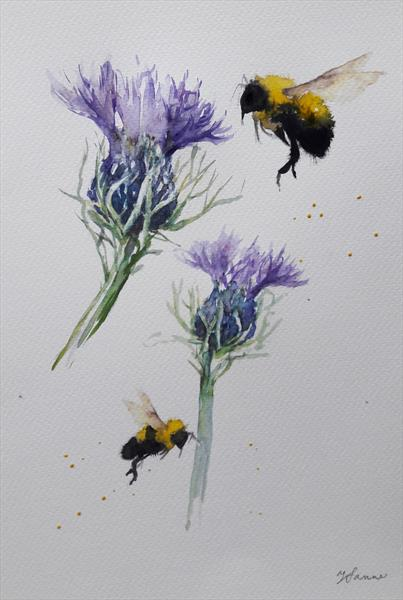 Bees & thistles by Teresa Tanner