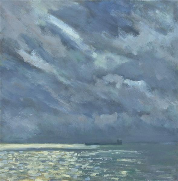 Clouds, Light And A Cargo Ship by Nikki Wheeler
