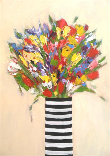 Summer Flowers in Striped Vase