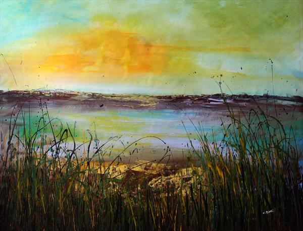 Far Away #2 - Large original landscape painting by Cecilia Frigati