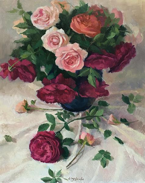 Austin Roses 2 by Ling Strube