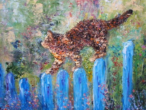 Cat on a cool blue fence - Reserved for Justine by Mary Ann Day