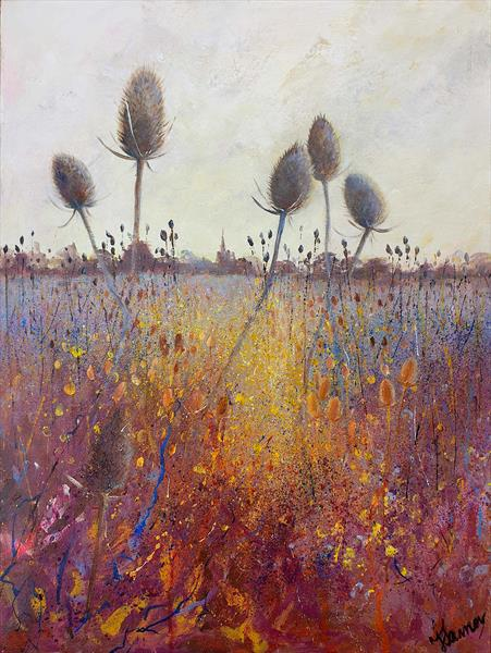 Evening field of Teasels by Teresa Tanner