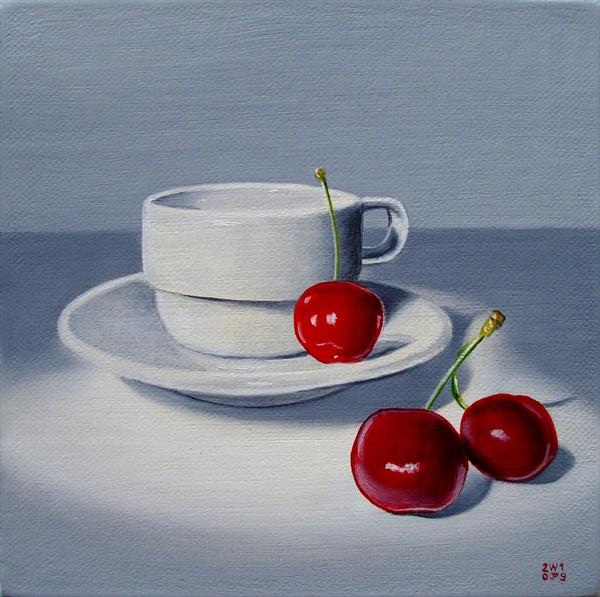 Cherries and coffee cup by Jean-pierre Walter