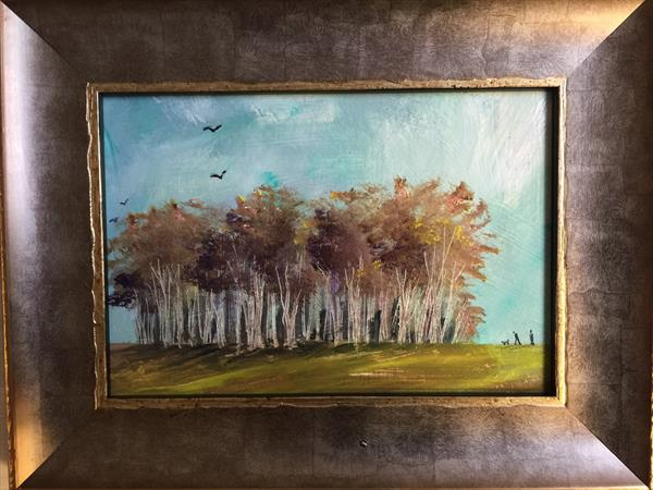Autumn Bluster ( framed original oil ) by Sarah Gill