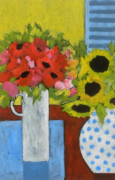 Two vases of flowers by Jan Rippingham