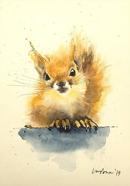 Red Squirrel #01 - watercolour and ink by Luci Power
