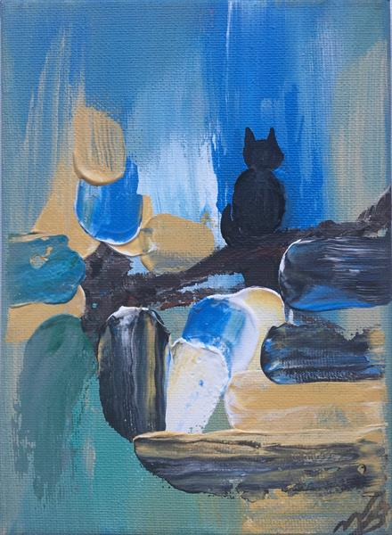 Black cat on a mini canvas by Marja Brown