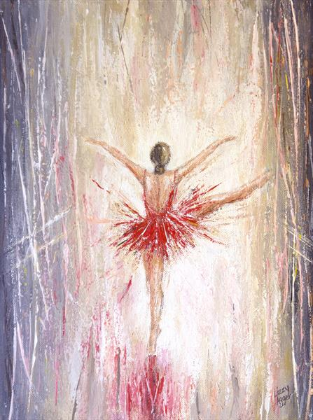 Red Ballet Dancer - Original acrylic painting on canvas by Lizzy Agger