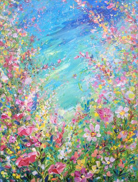 Pink and Teal Meadow  by Janice  Rogers