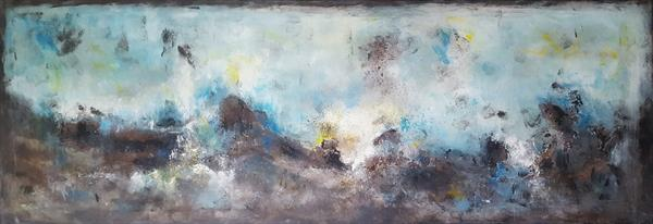 """67''x 23,5""""( 170x60cm), abstract canvas art ,Harmony 2 Landscape, blue painting , canvas art by Veronica Vilsan"""