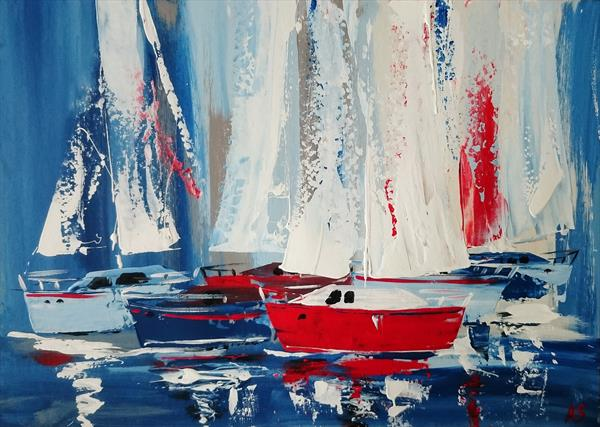 SHIPS WITH VANILLA SAILS; ORIGINAL PAINTING, FRAMED by Alena Shymchonak