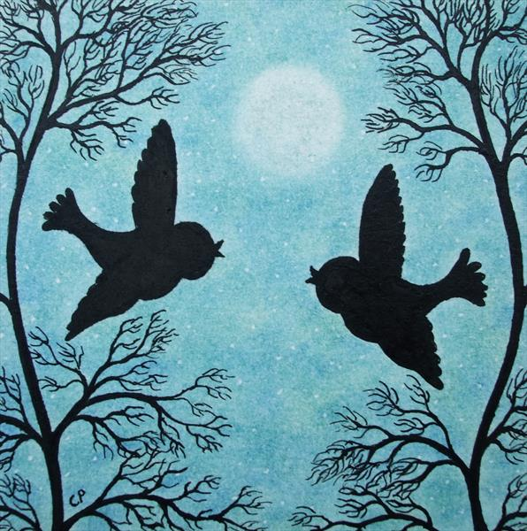 Birds Silhouettes (Framed) by Claudine Peronne