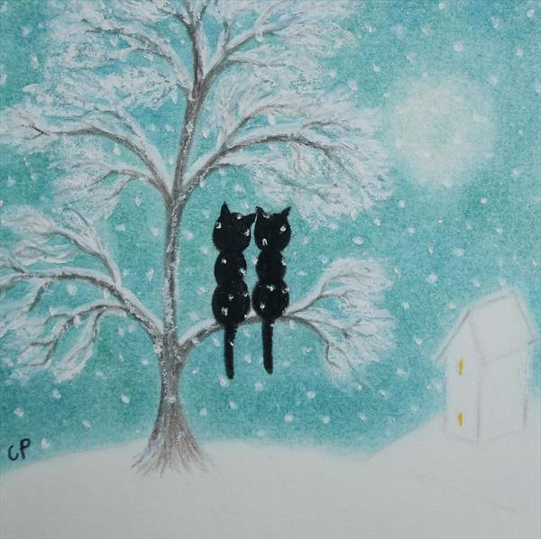 Cats in the Snow (Framed) by Claudine Peronne