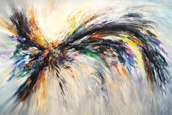 Black And White Wings XXXL 1, very large painting (unstretched) by Peter Nottrott
