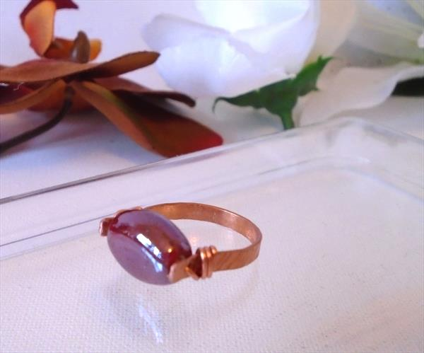 Handmade Hammered Copper Red Pearlised Czech Glass Ring by Brenda Newton