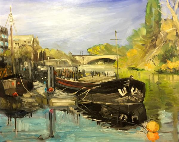 Barge at high tide on the Thames, near Kew bridge. by Justin Twigg