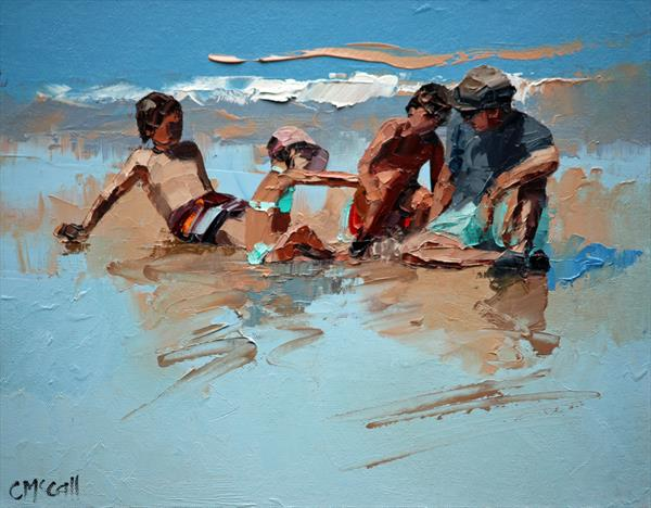 Dad & The Kids Original Oil Painting by Claire McCall