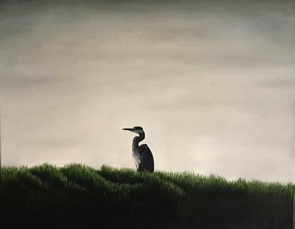 Heron on the Norfolk Broads by Lesley White